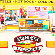 Streetscape Digital Art Acrylic Prints - San Francisco - Stanleys Steamers Hot Dog Stand - 5D17929 - Square - Painterly Acrylic Print by Wingsdomain Art and Photography