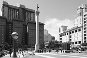 Hotels Posters - San Francisco - Union Square - 5D17933 - black and white Poster by Wingsdomain Art and Photography
