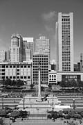 Hyatt Hotels Framed Prints - San Francisco - Union Square - 5D17941 - black and white Framed Print by Wingsdomain Art and Photography