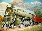Us History Pastels Posters - San Francisco and St Louis line Engine 4306 Poster by Paul Gilbert Baswell
