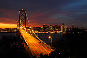 San Francisco Metal Prints - San Francisco Bay Bridge at sunset Metal Print by Pierre Leclerc