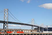 Bay Bridge Metal Prints - San Francisco Bay Bridge at the Embarcadero . 7D7725 Metal Print by Wingsdomain Art and Photography