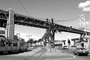 San Francisco Embarcadero Prints - San Francisco Bay Bridge at The Embarcadero . Black and White Photograph . 7D7706 Print by Wingsdomain Art and Photography