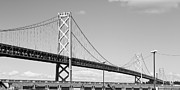 San Francisco Embarcadero Prints - San Francisco Bay Bridge at The Embarcadero . Black and White Photograph . 7D7716 Print by Wingsdomain Art and Photography