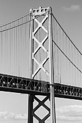 Baybridge Photo Prints - San Francisco Bay Bridge at The Embarcadero . Black and White Photograph . 7D7717 Print by Wingsdomain Art and Photography