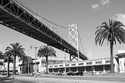 San Francisco Embarcadero Prints - San Francisco Bay Bridge at The Embarcadero . Black and White Photograph . 7D7735 Print by Wingsdomain Art and Photography