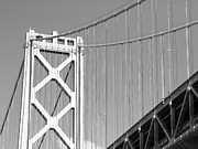 San Francisco Embarcadero Prints - San Francisco Bay Bridge at The Embarcadero . Black and White Photograph . 7D7756 Print by Wingsdomain Art and Photography