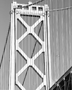 Black And White Photos Prints - San Francisco Bay Bridge at The Embarcadero . Black and White Photograph . 7D7760 Print by Wingsdomain Art and Photography