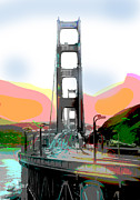 Bay Bridge Mixed Media Metal Prints - San Francisco Bay Bridge Metal Print by Charles Shoup