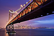 Illuminated Tapestries Textiles Metal Prints - San Francisco Bay Bridge Metal Print by Photo by Mike Shaw