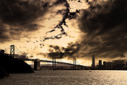 Bay Bridge Photos - San Francisco Bay Bridge by Wingsdomain Art and Photography