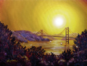 Yellow Sailboats Originals - San Francisco Bay in Golden Glow by Laura Iverson