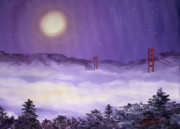 San Francisco Bay In Purple Fog Print by Laura Iverson