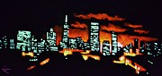 City Skylines Paintings - San Francisco Black Light by Thomas Kolendra
