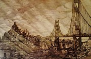 Tourist Attraction Drawings - San Francisco Bridge Sketch by Unique Consignment