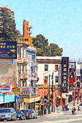 Bay Bridge Digital Art Prints - San Francisco Broadway Print by Wingsdomain Art and Photography