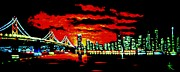 City Skylines Paintings - San Francisco by black light by Thomas Kolendra