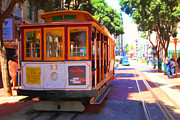 Streetcar Digital Art - San Francisco Cable Car at The Powell Street Cable Car Turnaround - 5D17962 - Painterly by Wingsdomain Art and Photography