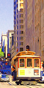 Highrise Building Framed Prints - San Francisco Cable Car Coming Down Powell Street Framed Print by Wingsdomain Art and Photography