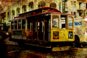 Cable Car Framed Prints - San Francisco Cable Car . texture Framed Print by Wingsdomain Art and Photography