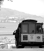Shane Kelly Posters - San Francisco Cable Car with Alcatraz Poster by Shane Kelly