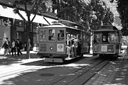 Trollies Photos - San Francisco Cable Cars at The Powell Street Cable Car Turnaround - 5D17959 - black and white by Wingsdomain Art and Photography