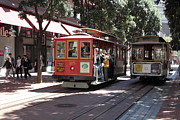 Trollies Photos - San Francisco Cable Cars at The Powell Street Cable Car Turnaround - 5D17959 by Wingsdomain Art and Photography