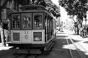 Trollies Photos - San Francisco Cable Cars at The Powell Street Cable Car Turnaround - 5D17962 - black and white by Wingsdomain Art and Photography