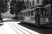 Trollies Photos - San Francisco Cable Cars at The Powell Street Cable Car Turnaround - 5D17963 - black and white by Wingsdomain Art and Photography