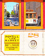 Bay Area Digital Art - San Francisco Cablecar 28 . Cablecar Down Powell Street by Wingsdomain Art and Photography