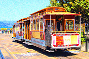 Streets Digital Art Posters - San Francisco Cablecar At Fishermans Wharf . 7D14097 Poster by Wingsdomain Art and Photography