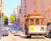 Highrise Building Framed Prints - San Francisco Cablecar Coming Down Powell Street Framed Print by Wingsdomain Art and Photography