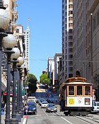 Street Lights Prints - San Francisco Cablecar on Powell Street Print by Wingsdomain Art and Photography