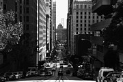 High Rise Buildings Framed Prints - San Francisco California Street . bw . 7D7186 Framed Print by Wingsdomain Art and Photography