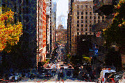 High Rise Buildings Framed Prints - San Francisco California Street  . Painterly . 7D7186 Framed Print by Wingsdomain Art and Photography