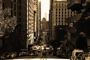 High Rise Buildings Framed Prints - San Francisco California Street . sepia . 7D7186 Framed Print by Wingsdomain Art and Photography
