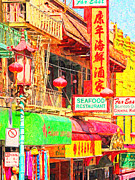 Street Signs Digital Art Posters - San Francisco Chinatown Shops Poster by Wingsdomain Art and Photography