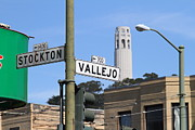 Stockton Prints - San Francisco Coit Tower Through Stockton and Vallejo Streets Print by Wingsdomain Art and Photography