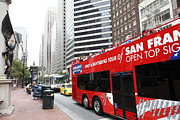 Trollies Photos - San Francisco Double Decker Tour Bus on Market Street - 5D17844 by Wingsdomain Art and Photography