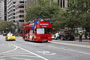 Trollies Photos - San Francisco Double Decker Tour Bus on Market Street - 5D17851 by Wingsdomain Art and Photography