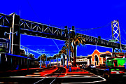 Bay Bridge Digital Art Prints - San Francisco Embarcadero And The Bay Bridge Electrified Print by Wingsdomain Art and Photography
