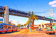 Big Cities Digital Art Prints - San Francisco Embarcadero And The Bay Bridge Print by Wingsdomain Art and Photography