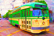 Wingsdomain Digital Art Metal Prints - San Francisco F-Line Trolley Metal Print by Wingsdomain Art and Photography