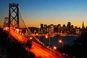 Bay Bridge Pyrography Metal Prints - San Francisco from Yuerba Buena Island Metal Print by James Kirkikis