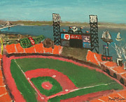 Bay Bridge Painting Metal Prints - San Francisco Giants Stadium Metal Print by Kyle McGuigan