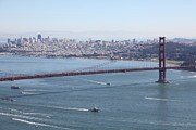 Historic Bridges Art Prints - San Francisco Golden Gate Bridge And Skyline Viewed From Hawk Hill in Marin - 5D19605 Print by Wingsdomain Art and Photography