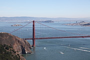 Bay Bridge Metal Prints - San Francisco Golden Gate Bridge And Skyline Viewed From Hawk Hill in Marin - 5D19628 Metal Print by Wingsdomain Art and Photography