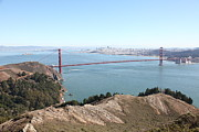 Hawk Hill Framed Prints - San Francisco Golden Gate Bridge And Skyline Viewed From Hawk Hill in Marin - 5D19637 Framed Print by Wingsdomain Art and Photography