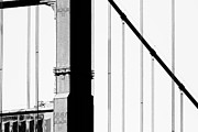 Black And White Photography Metal Prints - San Francisco Golden Gate Bridge . Black and White Photograph . 7D7954 Metal Print by Wingsdomain Art and Photography