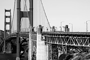 Black And White Photography Metal Prints - San Francisco Golden Gate Bridge . Black and White Photograph . 7D8166 Metal Print by Wingsdomain Art and Photography